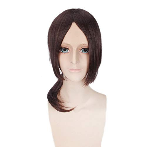 COJETER Anime Attack on Titan Ymir Perruque courte attachée Légère frange moelleuse Curling Hair Inward Anime Wig 50Cm Cosplay Maquillage Unisexe Fantaisie Brun Perruque