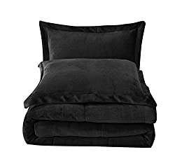 professional Chezmoi Collection Micromink Sherpa 3-sided bed linen set (King, Black)
