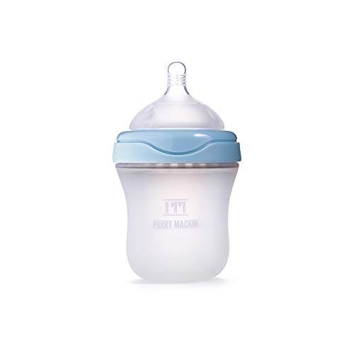 Perry Mackin - Natural Feel, Anti-Colic Silicone Baby Bottle, Blue, 6oz