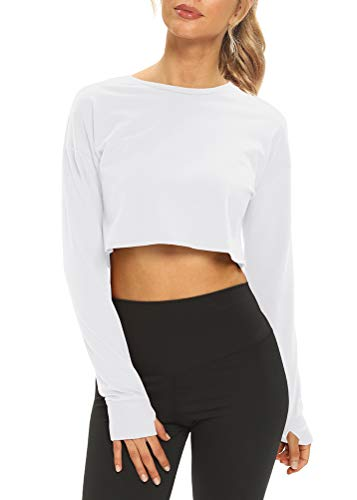Mippo Long Sleeve Workout Shirts for Women Gym Yoga Crop Tops Cropped Sweatshirts Athletic Running Shirts Exercise Shirts Loose Gymshark Tops White M
