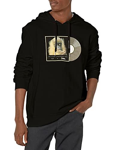ARMANI EXCHANGE Black Monkey Hooded Sweatshirt Felpa con Cappuccio, Nero, M Uomo
