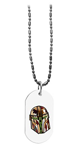 Hat Shark This is The Way Bounty Hunter Text Face Parody - 3D Color Printed Military Dog Tag, Luggage Tag Pendant Metal Chain Necklace