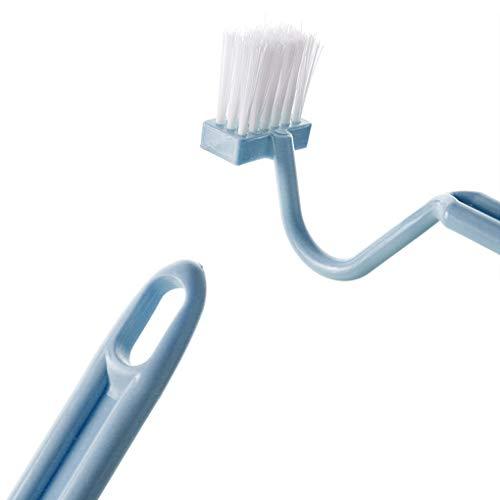 Deinbe S Forma Cepillo de Limpieza WC portátil WC depurador Curvas Bien definidas inclinación Lateral maneja la Herramienta Pincel Limpiador de la Esquina Blue