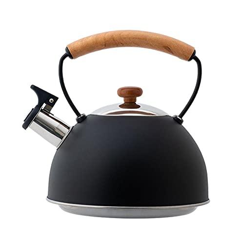 Lingge Hervidor - Hervidor de Silbato Negro con Mango de Madera Tetera de silbido Europea Adecuada para cocinas de inducción, Estufas de Gas, etc. Cool