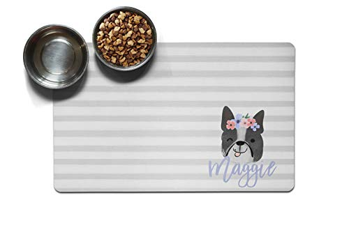 The Navy Knot Personalized Large Pet Mat | Two Sizes | Dog Placemat | Dog Food Mat | Pet Placemat | Pet Food Mat | Personalized Pet Placemat | Fabric Placemat (12 x 18, Floral Dog - Boston Terrier)