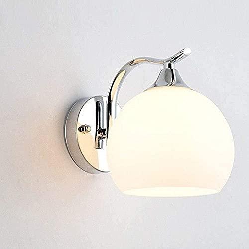 VanFty Lámpara de pared de cristal moderna simple europea moderna DIRIGIÓ Linterna de pared esférica con láctea de vidrio blanco de la sombra del hotel lámpara de noche dormitorio moderno minimalista