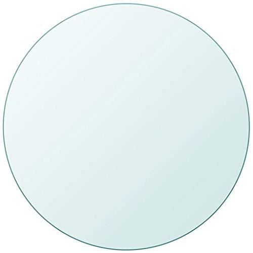 EBTOOLS Mesa de cristal, parte superior redonda de cristal transparente templado, gran trabajo, resistente, para cocina, comedor, café, escritorio, 10 x 800 mm