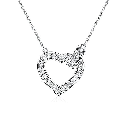 Czemo Collar de Plata 925 Collar de corazón de Amor, Personalizada Collar Plata para Mujer, Colgante Corazón Infinito Regalo Madre Mamá Esposa Novia Abuela