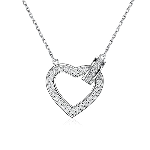 Czemo Collar de Plata 925 Collar de corazón de Amor, Personalizada Collar Plata para Mujer,...