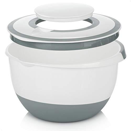 COM-FOUR Tazón para mezclar de 5 l con tapa, ensaladera, para guardar alimentos y recipiente para hornear con base de tope, protectora contra salpicaduras [La selección varía]