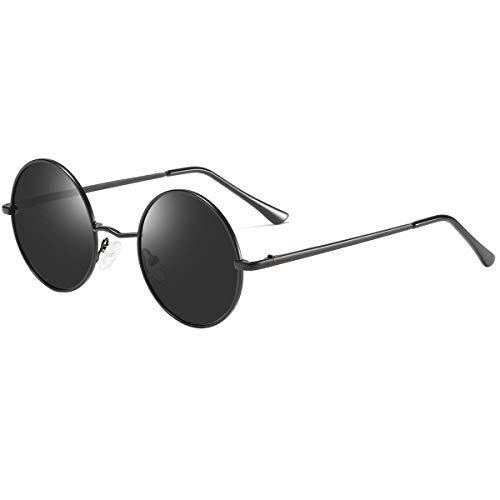 Dollger Retro Lennon Sonnenbrille Vintage Polarisierte Mirrored Linsen Metall Gestell Rundbrille für Herren Damen Schwarze Linse+Mattschwarze Rahmen