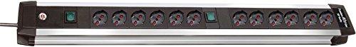 Brennenstuhl 1391005012 Multipresa, serie Premium Alu Line,12 prese italiane (10/16A) e 2 interruttori luminosi (6 prese per ogni interruttore), bordi in alluminio