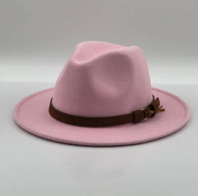 Mujeres Hombres Sombrero Fedora Caballero Elegante Dama Invierno Otoo ala Ancha Jazz Iglesia Sombrero Gorra-pink-1-55-58cm