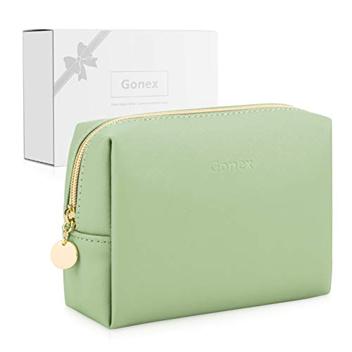 Gonex Small Makeup Bag Travel Toiletries Bag Leather Cosmetic Pouch Waterproof for Women Ladies Girls Gifts with Gift Box Portable Daily Storage Organzier