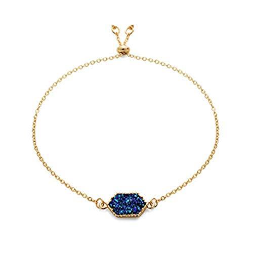 yichahu Pulsera de piedras hexagonales para mujer (oro + azul)