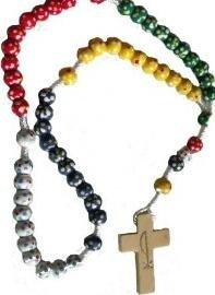 Rosenkranz.Holz Missionar Seil Rosenkranz Perlen rot grün gelb blau aus Holz