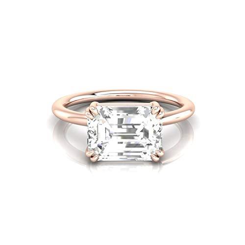 Diamondrensu - Anello solitario in moissanite incolore con taglio smeraldo da 2,0 ct, anello di fidanzamento per lei, 14 K con doppio artiglio e Oro rosa, 9.25, cod. UKRG-0170-14GR-9.25