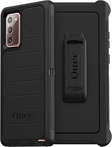 OtterBox Defender Screenless Series Rugged Case & Belt Clip Holster for Galaxy Note 20 5G (ONLY) Retail Packaging - Black - with Microbial Defense