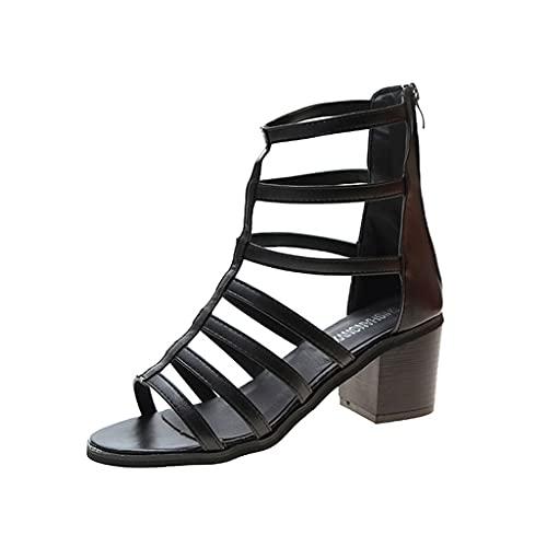 QUNHU Sandalias de Mujer, Sandalias de toaldo Abierto Tacones Gruesos para Mujer, Tacones de Gladiador Antideslizantes Resistentes al Desgaste, (Color : Black, Size : 35EUR)