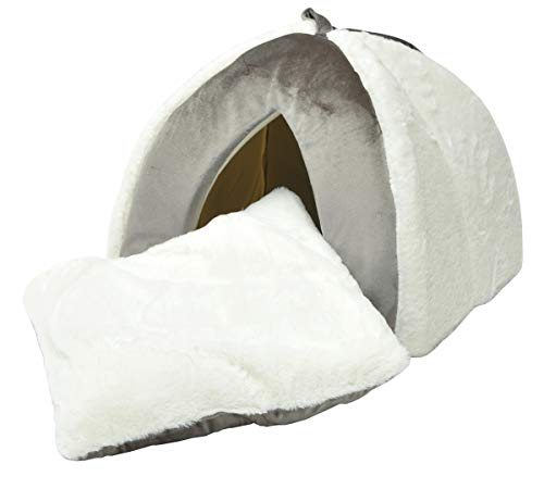 nanook Hundehöhle Katzenhöhle Jack - grau/weiß - 43 x 43 cm - mit herausnehmbarem Kissen