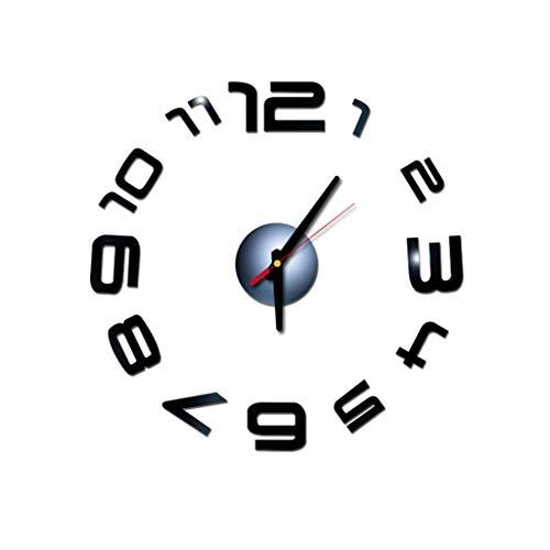 Fghyh 3D DIY Römische Zahlen Acryl Spiegel Wandaufkleber Uhr Wohnkultur Wandtattoo(BK)