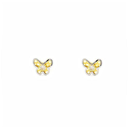 Pendientes Bebe/Niña oro bicolor Mariposa con circonita