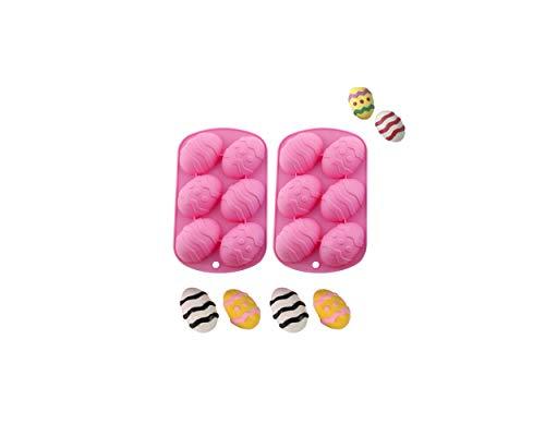 Molde De Silicona Con Forma De Huevo De Pascua, Molde De Chocolate De Pascua 3D, Fácil De Desmoldar, Reutilizable,Adecuado Para Hacer Huevos De Pascua, Pudín Y Jabón Hecho A Mano, Etc. (Rosa * 2)