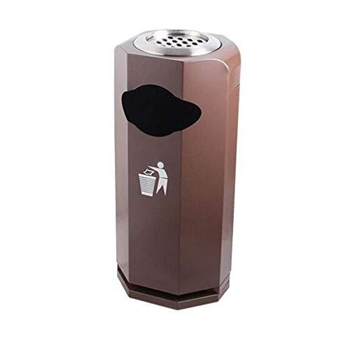 Posacenere per Sigari Trash bin diamante Trash Can Lobby Ufficio in acciaio inox Spazzatura Giardino bagno esterno con posacenere bidone Pattumiera (Colore: Rosa oro), colore: Nero ( Color : Brown )