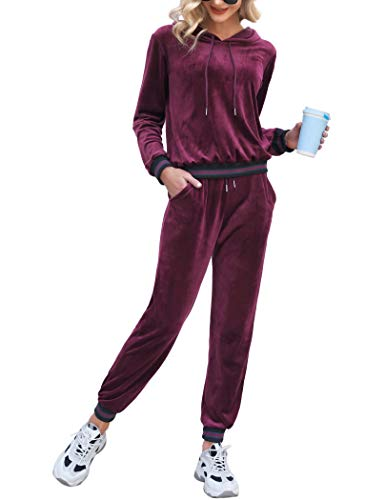 Aibrou Women Tracksuit Velour Loungewear 2 Pieces Long Sleeve Hooded Sweatshirt and Bottoms Casual Pyjama Set Jogging Sportswear for Spring Autumn Winter