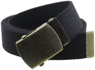 Canvas Web Belt Military Style with Antique Brass Buckle and Tip 50 Long Black product image