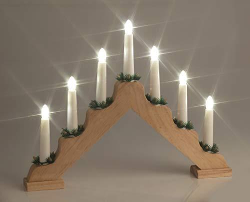 LED Weihnachts-Lichterbogen aus Holz, warmweiß