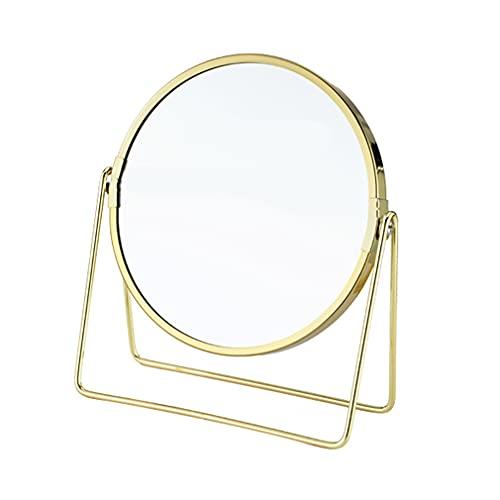 Dubbelsidig sminkspegel på skrivbordet, vridbar 360 °, sminkbord för sminkbord i sovrum, runda nordiska dekorativa spegelprydnader