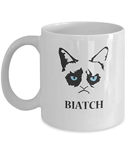 N\A Biatch -Grumpy Cat Mug-Grumpy Cat Kaffeetasse-Grumpy Cat Merchandise-Ceramic Coffee White Mug -Personalized Geschenk für Geburtstag, Weihnachten und Neujahr-Grumpy Cat Art-Grumpy Cat No Mug
