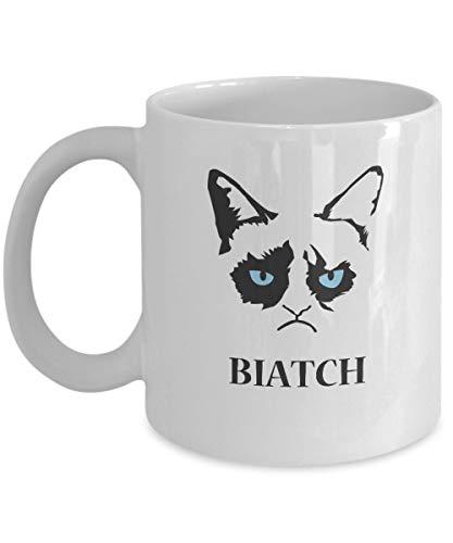 N\A Biatch -Grumpy Cat Mug-Grumpy Cat Kaffeetasse-Grumpy Cat Merchandise-Ceramic Coffee White Mug -Personalized Geschenk für Geburtstag, Weihnachten und Neujahr-Grumpy Cat Art-Grumpy Cat No Mug