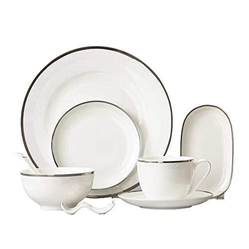 CCAN Juego de vajilla de cerámica para 1 Persona (8 Piezas), Apto para lavavajillas, vajilla de Porcelana ecológica, Taza, tazón de Sopa, Plato de Ensalada, Plato de Cena Interesting Life
