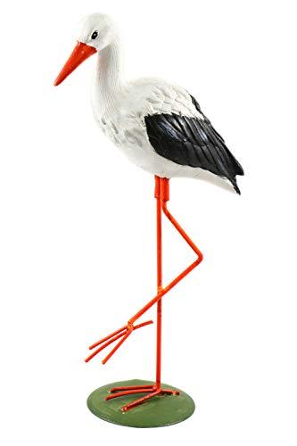 Creation Gross Kleiner, weißer Storch Klapperstorch stehend aus Polyresin H.: 35cm Teich Weiher Figur