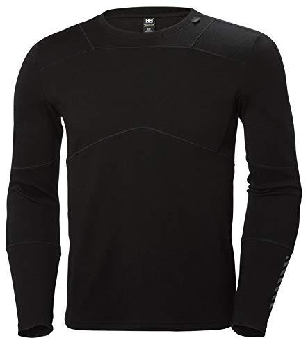 Helly Hansen HH LIFA Crew Camiseta Técnica Lana Merino, Hombre, Negro, L