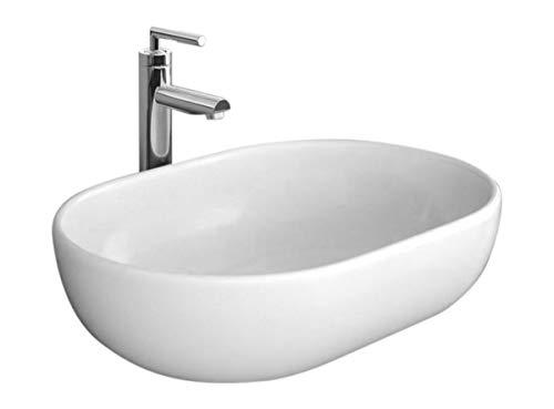 Design Keramik Oval Waschtisch Handwaschbecken Aufsatz-Waschschale 48cm x 34,5cm x 14cm FÜR BADEZIMMER GÄSTE WC Amelia 48