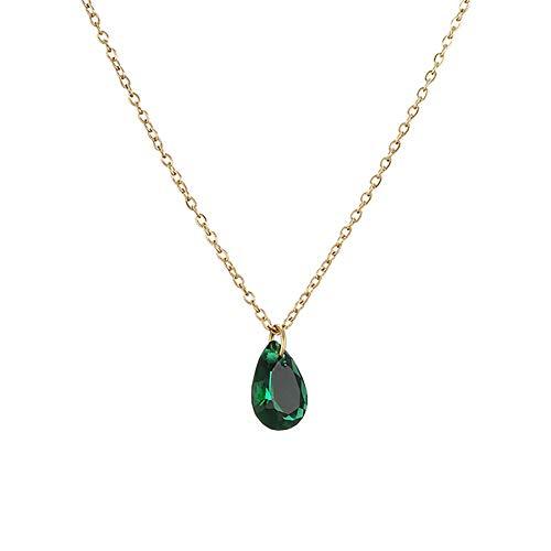 Emerald Imitation Emerald Water Drop Collar Chic Clavicle Chain Simple Japonés Harajuku Wind Water Drop