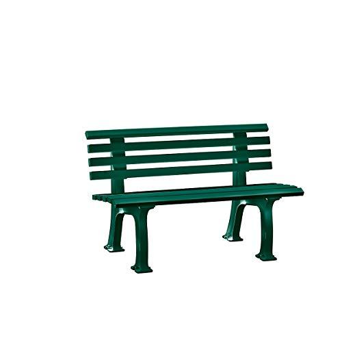 Parkbank aus Kunststoff - mit 9 Leisten - Breite 1200 mm, moosgrün - Sitzbank Gartenbank Ruhebank Bank für Außenbereich UV- und witterungsbeständig PVC Bank