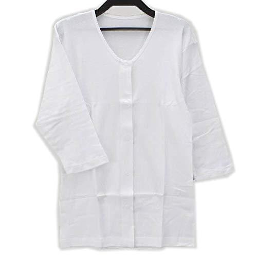 【婦人用】前開き シャツ ≪ 7分袖 ワンタッチテープ式 ≫ (1枚) 介護用に! レディース 女性用 婦人用 介護 肌着 (M, 白)