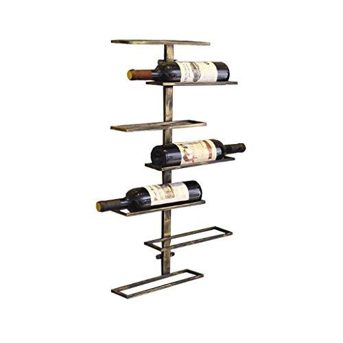 FBBSZSD Estantes de Vino montados en la Pared, Soporte para Botella de Vino Colgante, estantes de Almacenamiento de Equipo de Vino de Hierro de Metal, Barra de aplicación de exhibición de