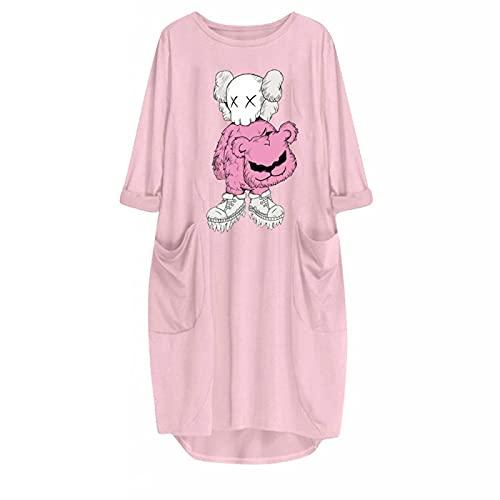 Summer Ladies Melting Bear Sesame Print Manga Larga Vestido Inferior Irregular Vestido Suelto De Longitud Media XL