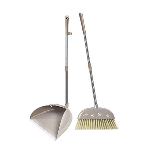 Uprigh Bezem en veegschep, winddicht, roestvrij staal, non-stick haarbezem en veegschep, draaibare anti-slip handgreep, softborstelset, geschikt voor thuis, keuken, lobby, etagère, tuin