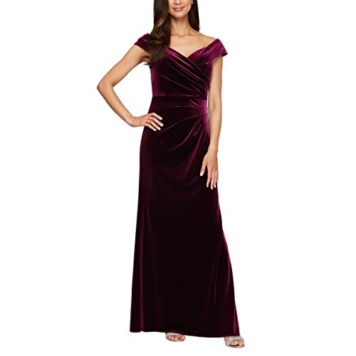 Alex Evenings Women's Long Off The Shoulder Fit and Flare Dress, Plum Velvet, 6