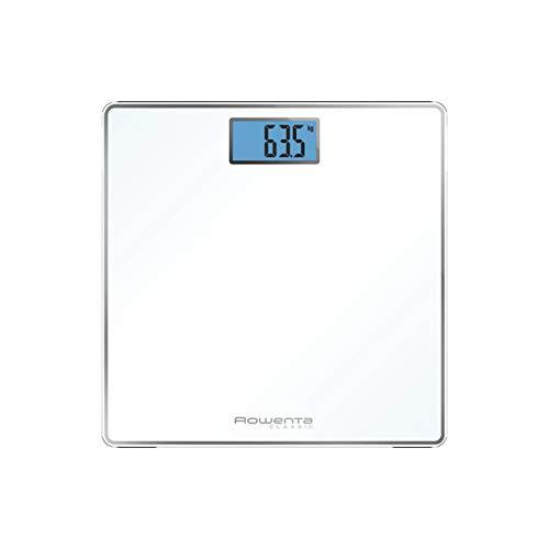 Rowenta Classic BS1501 - Báscula Digital con Pantalla LCD, Compacta, Capacidad de 160 kg, Plataforma de Vidrio y Apagado Automático que Incluye Pilas, color blanca