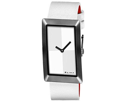 Reloj Elixa Finesse Mujer Solo Tempo Lady acero PVD Black Piel Blanco White Dial e104-l415