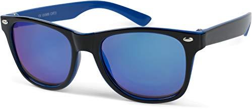 styleBREAKER Gafas de sol Kids Nerd con montura de plástico y lentes de policarbonato, diseño clásico retro 09020056, color:Marco negro azul/cristal azul
