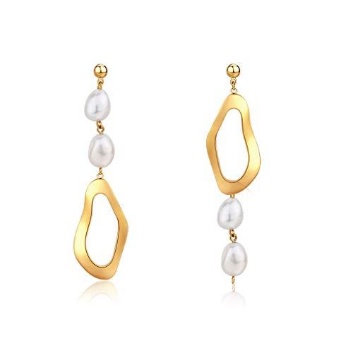Aretes para Mujer Pendientes Retro de la Perla Natural del Temperamento Pendientes asimétrico diseño de Accesorios de Moda Pendientes de la Mujer Regalo de la joyería Delicada Elegante Pendientes