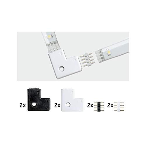 Paulmann 70599 YourLED 90°-Eck-Verbinder für LED Strip 4er Pack Stripe Zubehör Weiß Schwarz Kunststoff 2x Weiß 2x Schwarz inklusive 4fach Pin